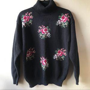 Vintage Cross Stitch Rose Turtleneck Knit Sweater